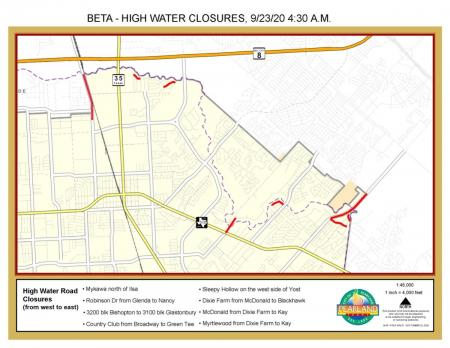 Road closures in the City of Pearland as a result of Tropical St